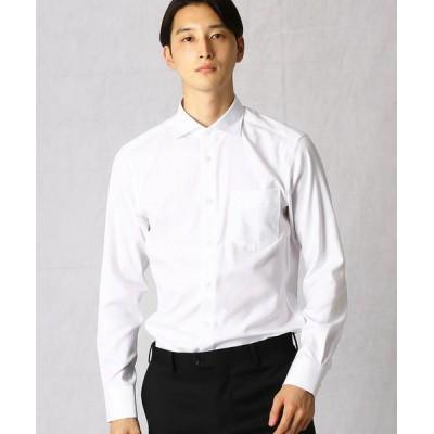 COMME CA MEN/コムサ・メン 【超形態安定】 市松ドビーSLIMカッタウェイカラーシャツ ホワイト XL