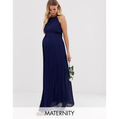 ティーエフエヌシー ミディドレス レディース TFNC Maternity bridesmaid exclusive high neck pleated maxi dress in navy エイソス ASOS ネイビー 藍