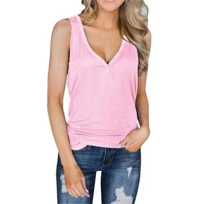 レディース 衣類 トップス Womens Tank Tops Sleeveless Shirts Button Tunic Tees タンクトップ