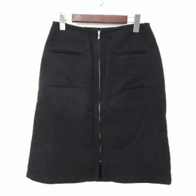 【中古】ケティ KETTY スカート 3 L 黒 ブラック ウール ひざ丈 無地 ジッパー レディース