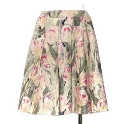 トゥービーシック TO BE CHIC スカート サイズ38 M レディース - アイボリー×ピンク×マルチ ひざ丈/花柄【中古】20210222