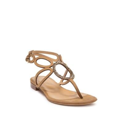 セルジオロッシ レディース サンダル シューズ Oval Gemstone Flat Sandal HONEY CREAM CRYSTAL