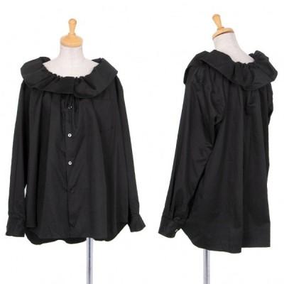 コムデギャルソンCOMME des GARCONS コットンワイドギャザーネックビッグシルエットシャツ 黒S 【レディース】
