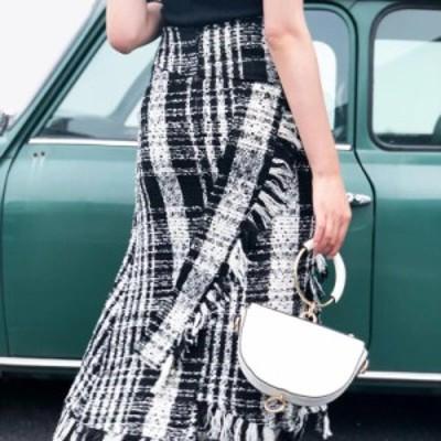 大人気スカート!【送料無料】チェック ツイード スカート フリンジ マキシスカート Aライン 160