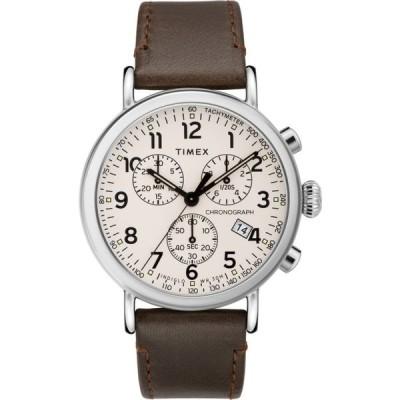タイメックス TIMEX ユニセックス 腕時計 クロノグラフ Standard Chronograph Leather Strap Watch, 41mm Brown/White/Silver