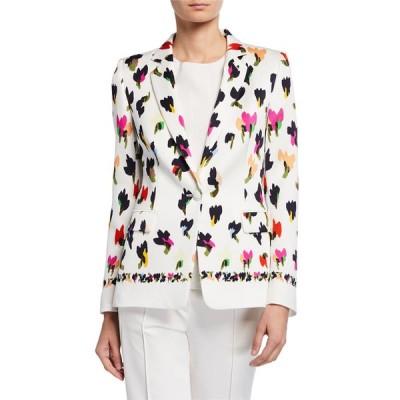 エスカーダ レディース ジャケット・ブルゾン アウター Abstract Floral-Print Hammered Blazer