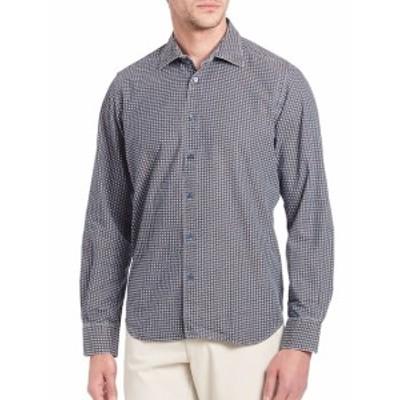 サックスフィフスアベニュー メンズ カジュアル ボタンダウンシャツ Printed Long Sleeve Shirt