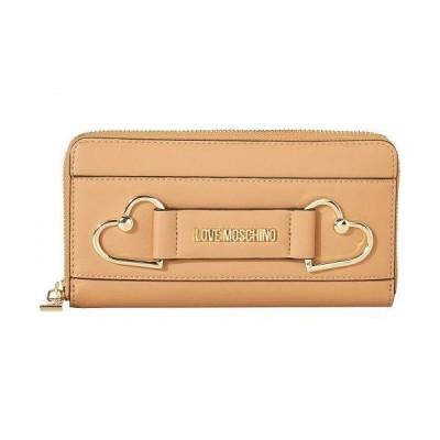 Love Moschino ラブ モスキーノ レディース 女性用 バッグ 鞄 ハンドバッグ クラッチ Heart Zip Around Wallet - Camel