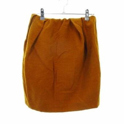 【中古】ナノユニバース nano universe ギャルドローブ garde-robe スカート フレア ミニ 無地 36 オレンジ