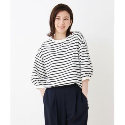 SHOO・LA・RUE/シューラルー ランタンスリーブ配色ステッチTシャツ ネイビーボーダー(393) 00(FREE)