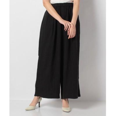 MARcourt 【mizuiro ind】linen tucked wide leg PT(BLACK)【返品不可商品】