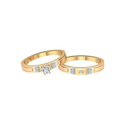 ユニークな結婚指輪セット、ツートーンの婚約指輪、HI-SI 0.34カラットソリテールダイヤモンドリング、ブライダルリングセット、お揃いのカップルリン