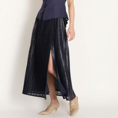 リリーブラウン Lily Brown レースドッキングスカート (ネイビー)