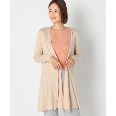 【ミューズ リファインド クローズ】 UVカットドレープカーディガン レディース ピンク ベージュ L MEW'S REFINED CLOTHES