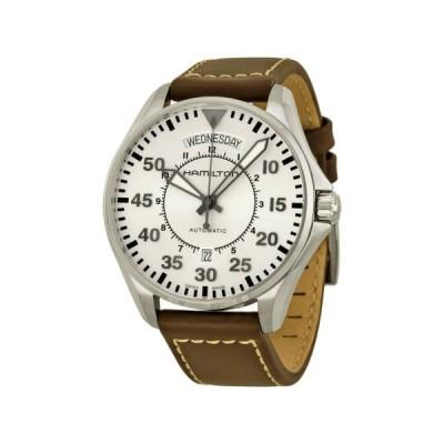 腕時計 ハミルトン Hamilton カーキ Aviation Pilot オートマチック シルバー ダイヤル ブラウン レザー メンズ 腕時計