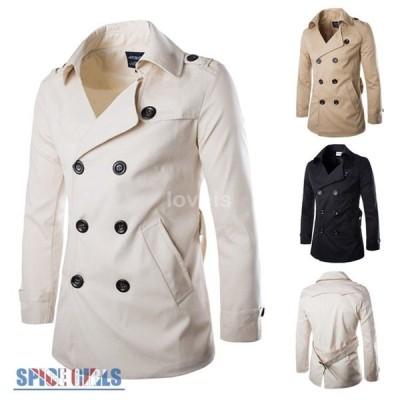 ステンカラーコート メンズ 無地 かっこいい Pコート ロングコート 立ち襟 トレンチコート ウィンドブレーカー 通勤 防風 秋冬