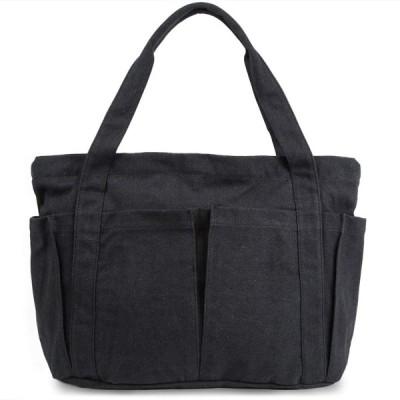 [D-SACK] 帆布 キャンバス トートバッグ レディース マザーズバッグ 大容量 肩がけ 買い物 バッグ 手提げ ファスナー付 ブラック