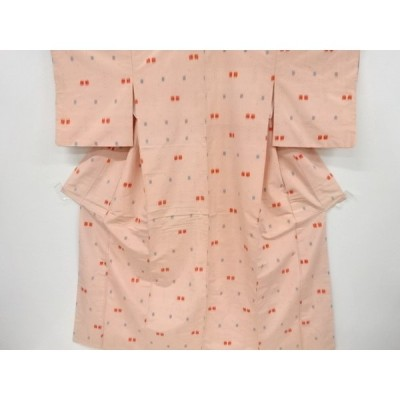 リサイクル 幾何学模様織り出し手織り縦節紬着物