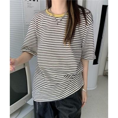 tシャツ Tシャツ ネックポイントカラーボーダーT