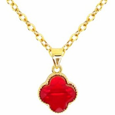 Haiyin Red Four Leaf Clover Pendant Necklace 24K Gold Plated Classic Rolo Choker Agate Necklace for Women Girls