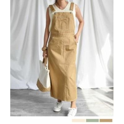 Salopette long skirt 29015 サロペットロングスカート ジャンパスカート ジャンパースカート ツイル素材 春夏新作 ベルト調整可能