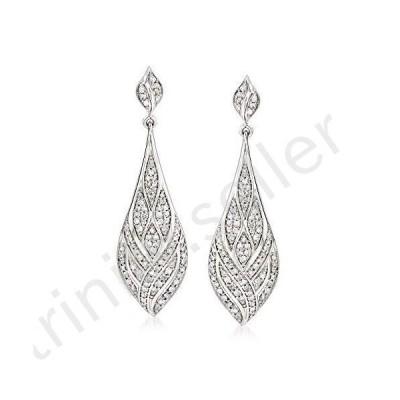 Ross-Simons 1.00 ct. t.w. Diamond Geometric Teardrop Earrings in Sterling Silver並行輸入品