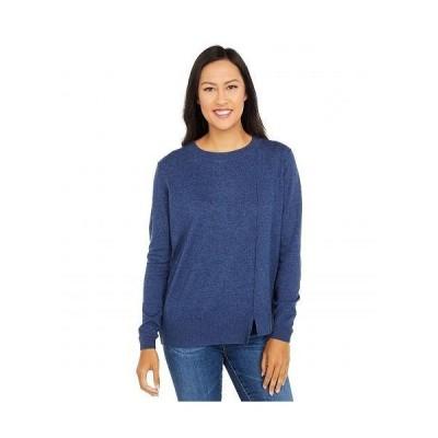 Elliott Lauren レディース 女性用 ファッション セーター Cotton Cashmere Asymmetrical Crew Neck Sweater - Denim