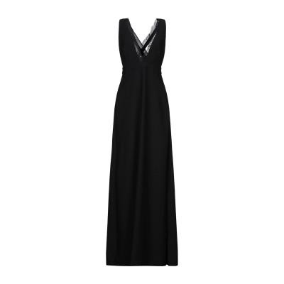 MEM.JS ロングワンピース&ドレス ブラック 46 ポリエステル 100% ロングワンピース&ドレス
