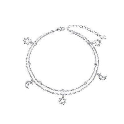 DAOCHONG Moon Srars Anklet for Women S925 Sterling Silver Adjustable Plus Foot Ankle Bracelet