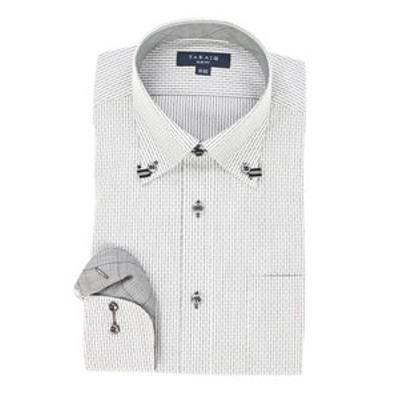 形態安定スリムフィット ドゥエボットーニループテープ長袖ビジネスドレスシャツ