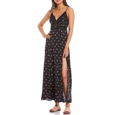 フリーピープル レディース ワンピース トップス Out & About V-Neck Sleeveless Lace Maxi Floral Slip Dress Black Combo