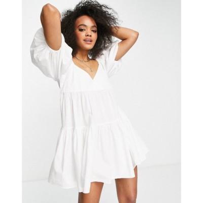 エイソス ASOS DESIGN レディース ワンピース ベビードール ミニ丈 ワンピース・ドレス cotton babydoll mini smock dress in white ホワイト