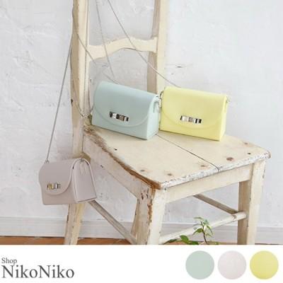 ShopNikoNiko リボンチェーンミニバッグ 鞄 バッグ ミニバッグ チェーン ショルダー リボン パステル レディース 韓国ファッション イエロー フリー レディース