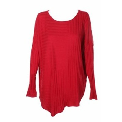 Real  ファッション トップス Inc International Concepts real red ribbed-knit asymmetrical sweater s
