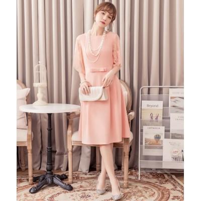 【ドレス スター】 レーススリーブパーティードレス レディース ピンク XLサイズ DRESS STAR