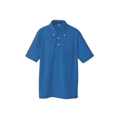 アイトス ボタンダウン半袖ポロシャツ ブルー M 10599-006-M