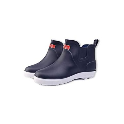 [スロウライド] メンズ レインブーツ レインシューズ 靴 ビジネス カジュアル 通勤 通学 軽量 厚底 滑り止め (ネイビー 25.5 cm)