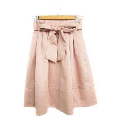 【中古】プチショコラ Le petit chocolat スカート ギャザー ひざ丈 リボン M ピンク /AAM19 レディース
