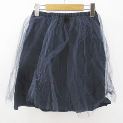 【中古】ビリティス ディ セッタン Bilitis dix-sept ans 膝上 ミニ フレアスカート 36 紺 ネイビー 日本製 チュール