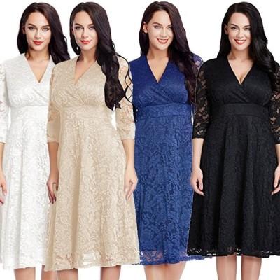 ドレス レディース 大きいサイズ有 ワンピース 七分袖 フレアスカート Vネック 無地 レース 透け感 ミディアム S M L XL 2XL