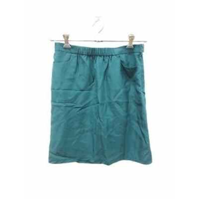 【中古】マカフィー MACPHEE トゥモローランド スカート 台形 ひざ丈 シルク 38 緑 グリーン /KB レディース