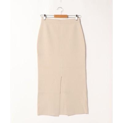 スカート 接結編みフロントスリットスカート