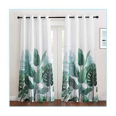 新品KGORGE Sheer Curtains 84 inch Length - Linen Textured Semi Sheer Curtains Tropical Leaves Pattern Half Translucent Window Drapes for B