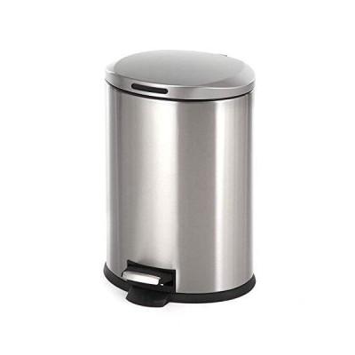 送料無料!Home Zone ゴミ箱 丸型 ゴミ箱 ステンレススチール製 12 L/3 gallon シルバー VA40913A