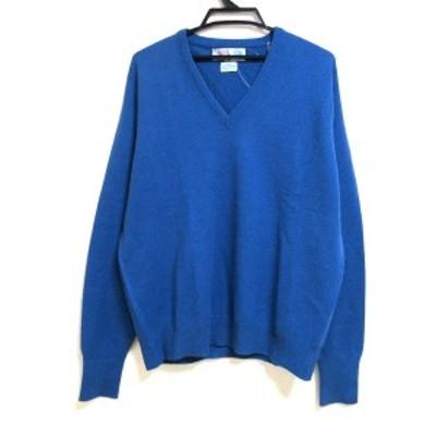 バランタイン Ballantyne 長袖セーター サイズ48 XL メンズ 美品 - ブルー Vネック/カシミヤ【中古】20210617