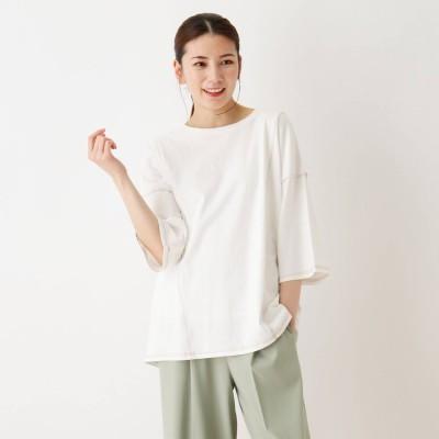 シューラルー SHOO-LA-RUE 切り替えステッチTシャツ (オフホワイト)