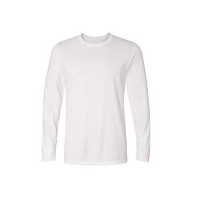 メンズ Tシャツ 長袖 無地 カットソー ファッション カジュアル 柔らかい 快適 春秋冬 クルーネック スリム Tシャツ ホワイト L