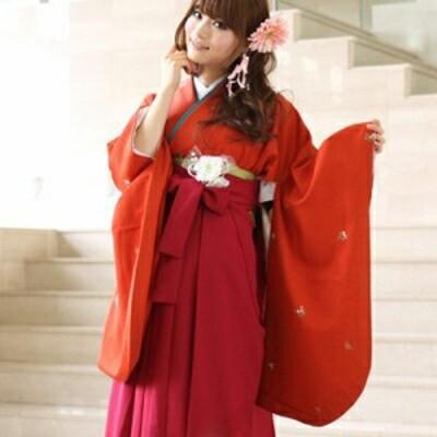 [往復送料0円]卒業式 2尺袖着物&袴 フルセットレンタル L 2L 赤 袴レンタル 上品