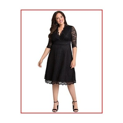 【新品】Kiyonna Women's Plus Size Special Occasion Mademoiselle Lace Cocktail Dress - 2X - Onyx Black【並行輸入品】