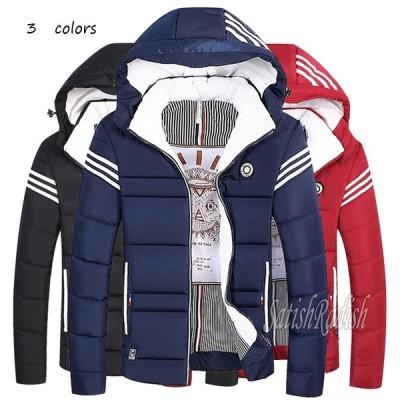 中綿ジャケット メンズ マウンテンパーカー 紳士服 ストライプ アメカジ フード取り外し可能 アウター 春秋冬 カジュアル